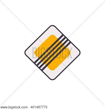 Flat End Of Main Road Sign On White Background Vector Illustration