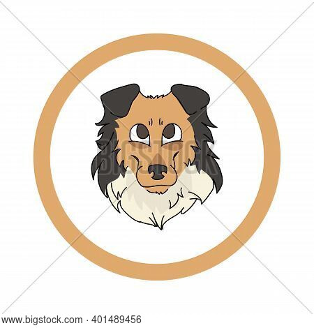 Cute Cartoon Scootish Collie Face In Circle Dog Vector Clipart. Pedigree Kennel Doggie Breed For Ken