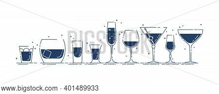 Glassware Vodka Whiskey Rum Tequila Liquor Red Wine Vermouth Martini Champagne Beer Line Art In Row