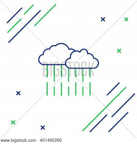Line Cloud With Rain Icon Isolated On White Background. Rain Cloud Precipitation With Rain Drops. Co