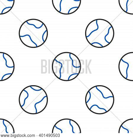 Line Earth Globe Icon Isolated Seamless Pattern On White Background. World Or Earth Sign. Global Int
