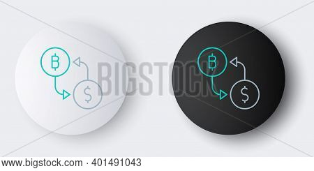 Line Cryptocurrency Exchange Icon Isolated On Grey Background. Bitcoin To Dollar Exchange Icon. Cryp