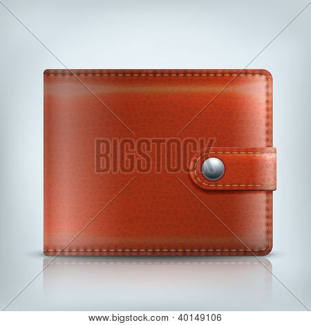 Vector realistic brown leather wallet. Internet wallet icon