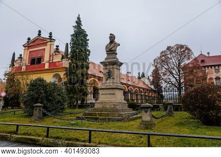 Monument To Jan Evangelista Purkyne Near Castle Libochovice With French Style Park And Garden, Roman