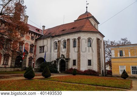 Castle Libochovice With French Style Park And Garden, Romantic Baroque Chateau In Winter Day, Castle