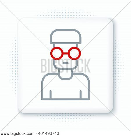 Line Nerd Geek Icon Isolated On White Background. Colorful Outline Concept. Vector