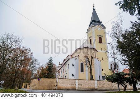 Baroque Church Of All Saints In Winter Day, Chapel Near Castle, Libochovice, Litomerice District, Bo