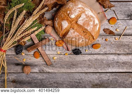 Traditional Food For Orthodox Christmas Eve. Yule Log Or Badnjak, Bread, Cereals, Dried Fruits And W