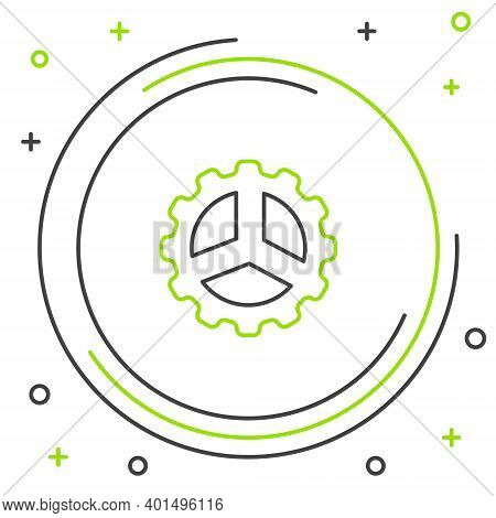 Line Bicycle Sprocket Crank Icon Isolated On White Background. Colorful Outline Concept. Vector
