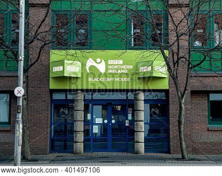 Belfast, Northern Ireland - Dec 19, 2020: The Sign For Bbc Northern Ireland At Blackstaff House