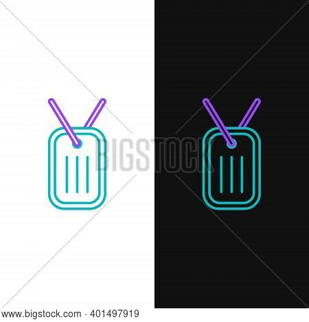 Line Military Dog Tag Icon Isolated On White And Black Background. Identity Tag Icon. Army Sign. Col
