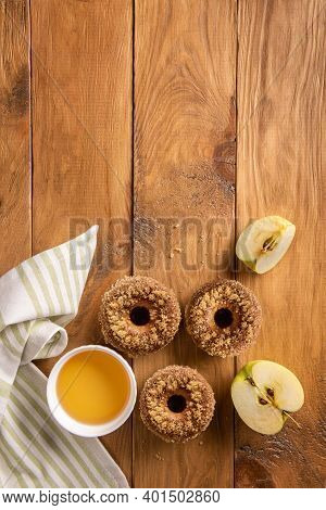Homemade Baked Sugared Apple Cider Donuts, Textile Napkin, Cider And Apple On Wooden Table. Ready To