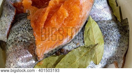 Salting Fresh Trout. Pieces Of Salted Trout With Salt