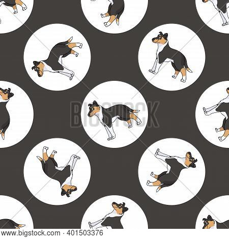 Hand Drawn Cute Smooth Collie Dog Breed In Polka Dot Seamless Vector Pattern. Purebread Pedigree Pup