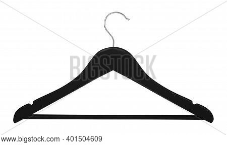 Clothes, Shoes And Accessories - Black Wooden Clothes Hangers Isolated On A White Background.