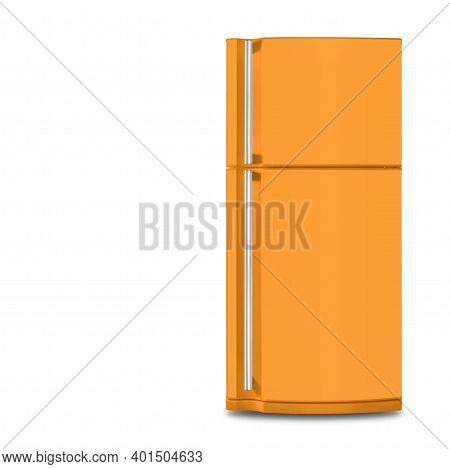 Major Appliance - The Orange Refrigerator Fridge On A White Background. Isolated
