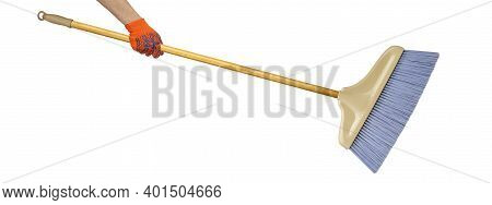 Objects Hands Action - Hand In Working Glove Holds Broom With Wooden Handle Isolated White Backgroun