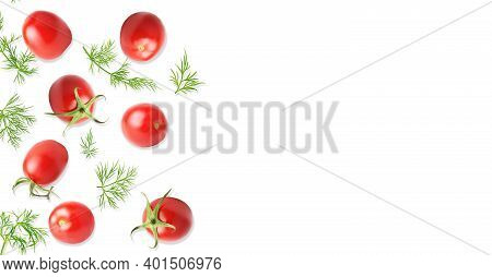 Creative Layout Made Of Fresh Raw Tomato And Dill