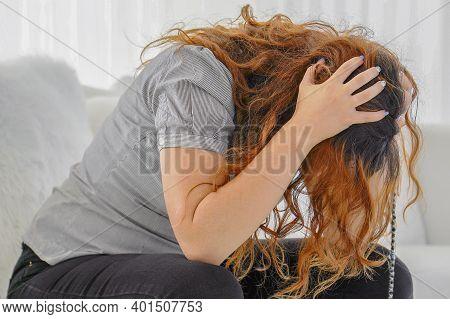 Close Up Portrait Of A Sad Ill Woman. Woman Worried About The Future. Portrait Of A Sad Woman