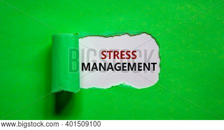 Stress Management Symbol. Words 'stress Management' Appearing Behind Torn Green Paper. Business, Psy