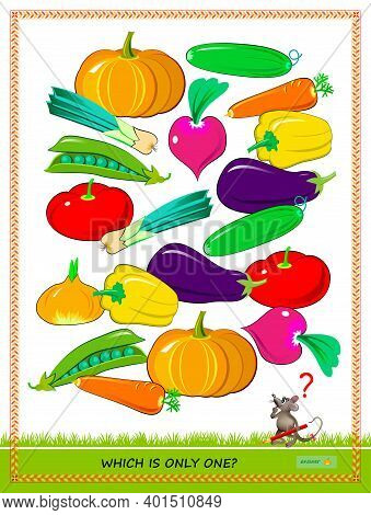 Logic Puzzle Game For Children And Adults. Need To Find The Vegetable Which Is Only One. Printable P