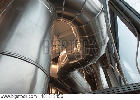 Devices, Flue Gas Ducts And Pipelines Thermally Insulated And Covered With Silver Sheet