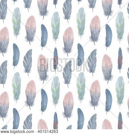 Bird Feathers Seamless Pattern Boho Style Watercolor Illustration Colorful Fancy Decorative Wings Fo