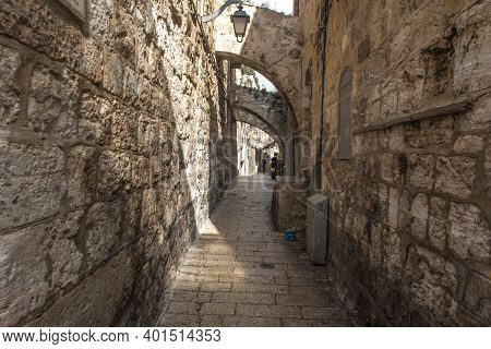 Narrow, Characteristic Streets In The Old Part Of Jerusalem, Israel