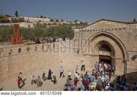 People Entering Church Of The Sepulchre Of Saint Mary, Known As Tomb Of Virgin Mary, Sanctuary At Mo