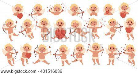 Amur Baby Angel Big Bundle Set. Cute Funny Cupid Little God Eros Greece Kids In Different Poses. Val