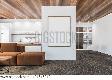 Mockup Frame In Living Room With Brown Sofa And Wooden Coffee Table, Wooden Parquet Floor. White Kit