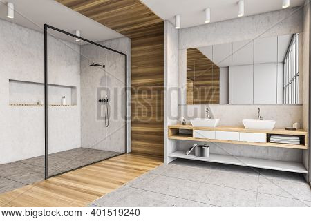 Wooden And White Bathroom With Two Sinks With Towels, Shower With Glass Doors, Side View. Minimalist