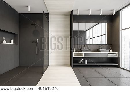 Grey And White Bathroom With Two Sinks With Towels, Shower With Glass Doors, Near Window. Minimalist