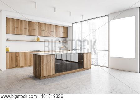 Mockup Canvas In White And Wooden Kitchen With Window And Marble Floor, Side View, Wooden Cutting Ta