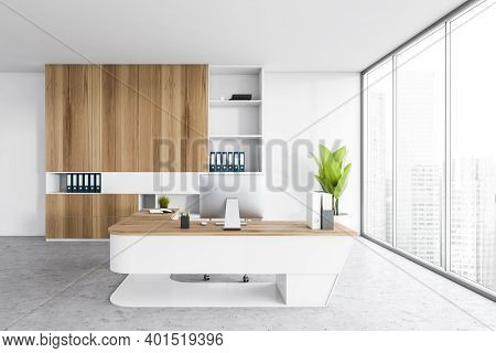 White Light Office With Shelf And Plant, Chair And Table With Computer, On Marble Floor Near Window.