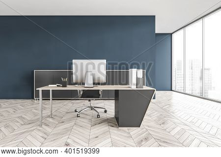 Grey And Blue Business Office Room With One Chair And Table With Computer, On Parquet Floor. Office
