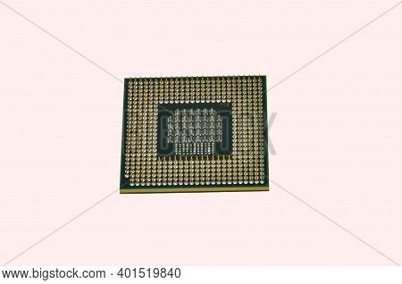 Image Of Cpu Processor Chip On A White Background. Equipment And Computer Hardware. Central Processi