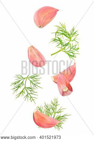 Garlic Cloves And Dill Isolated In The Air On White Background