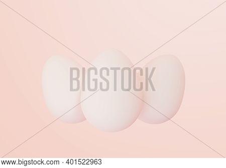 Three Pastel Easter Eggs On Light Background, Eastertime, 3d Illustration
