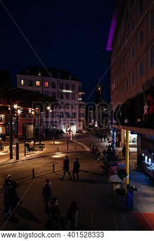 Strasbourg, France - Jan 1, 2020: Few Pedestrians Walking On Place De Lhomme De Fer In Central Stras