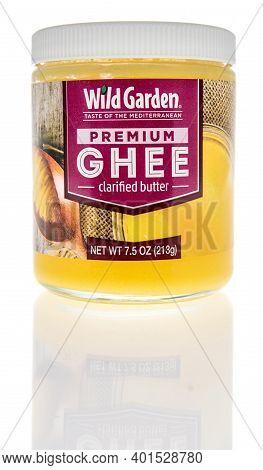 Winneconne, Wi -30 December 2020: A Package Of Wild Garden Ghee Clarified Butter On An Isolated Back