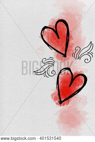 Illustration Of Love Background For Happy Valentines Day Card With Hearts