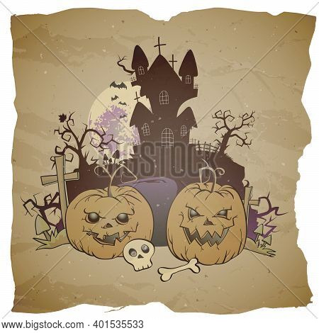 Vector Halloween Illustration With Grinning Pumpkins, Graves And Sinister Castle On Grunge Backgroun