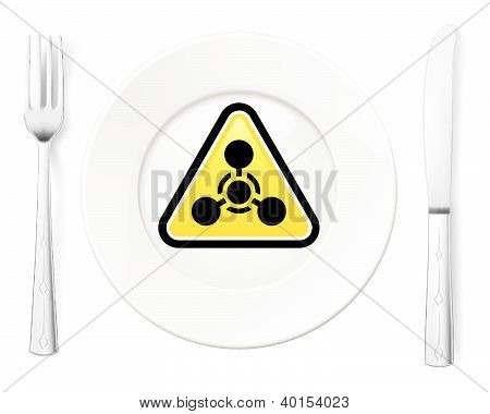 Dangerous food symbol represented by a Fork and Knife with a Plate and a graphic of a Chemical Weapon sign poster