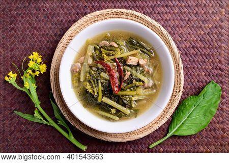 Northern Thai Food (pak Kad Jor), Sour Soup Thai Flowering Bok Choy With Pork In A Bowl