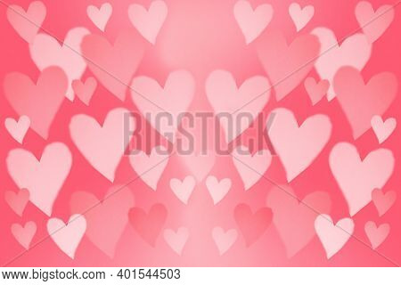 Valentines Day. Pink Valentines Day Wall Paper or Poster. Room for text or images. Pink background with Pink Hearts on one half of the image. Romantic Valentines Day Holiday Images.