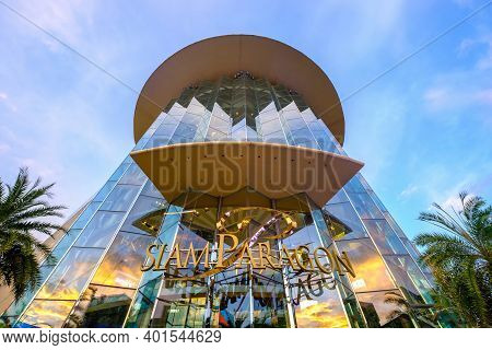 Bangkok, Thailand - Oct. 1, 2020: Siam Paragon Mall In Siam Square Mall On In Bangkok, Thailand. Wit