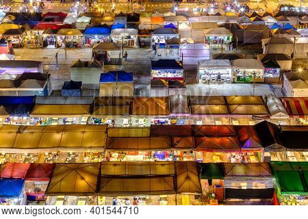 Bangkok, Thailand - October 12, 2020: Night View Of The Train Night Market Ratchada. Train Night Mar