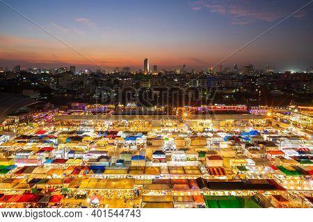 Bangkok, Thailand - November 10, 2020: Night View Of The Train Night Market Ratchada. Train Night Ma