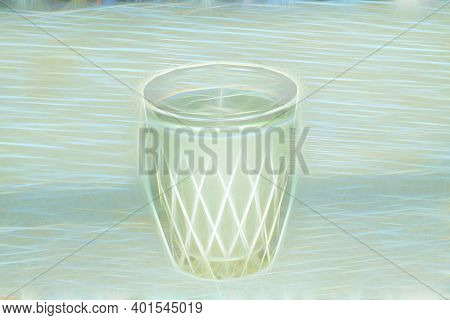 A Glass Of Milk Is On The Table. Illustration As Background